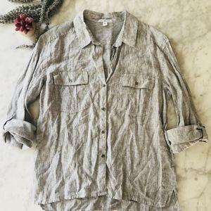 Standard James Perse Linen Top Button 3/Medium
